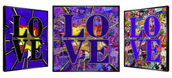 Love In Blue by Patrick Rubinstein - Kinetic Original on Board sized 35x35 inches. Available from Whitewall Galleries